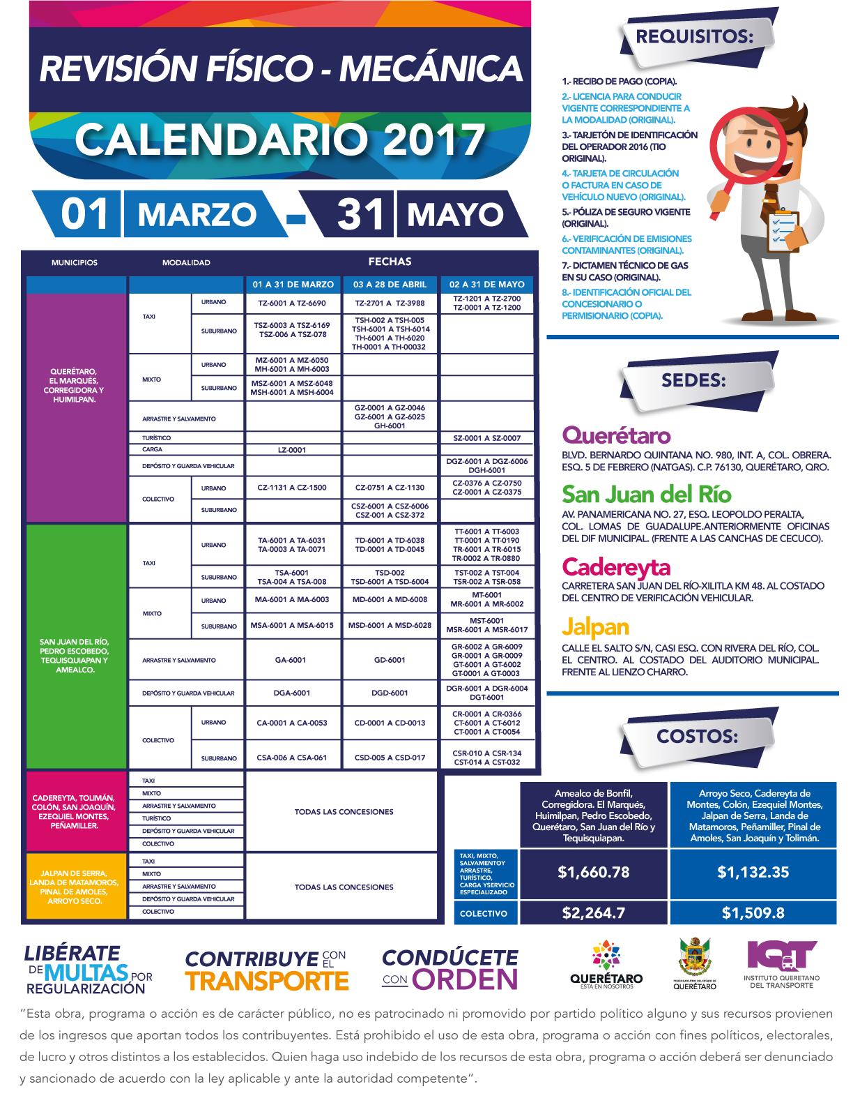 Calendario De Verificacion Fisico Mecanica 2019.Calendario Revision Fisico Mecanica Instituto Queretano