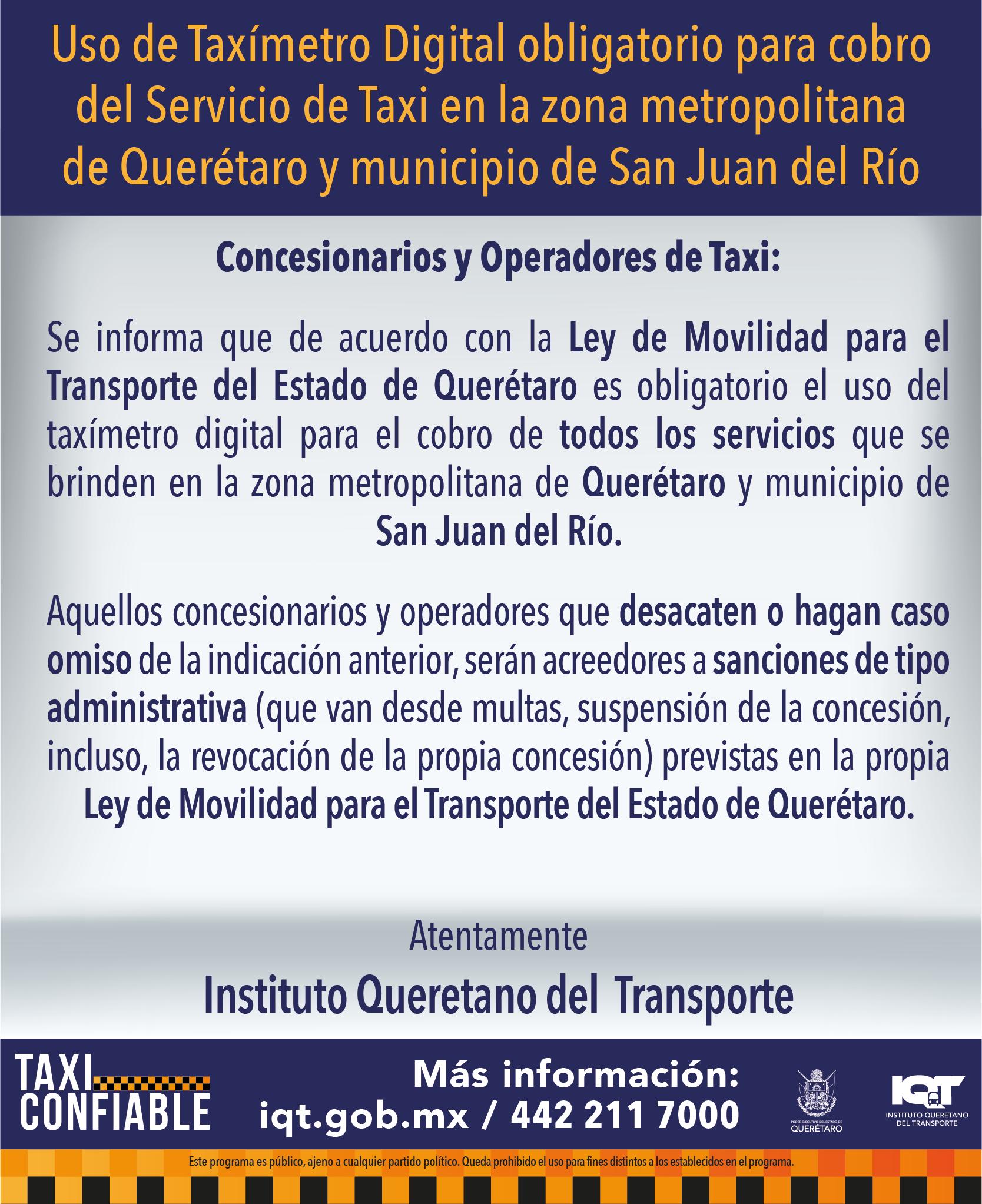 Taxímetro Obligatorio SJR